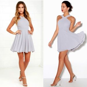 Lulu's FOREVERMORE GREY SKATER DRESS Cocktail M